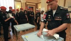 The massive voting of military servicemen from the Russian occupation troops in the Crimea