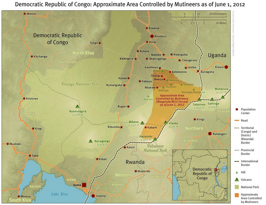 Rebel-controlled Movement of the M23 area of North Kivu, DR Congo