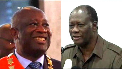 eft to right: Laurent Gbagbo. Alassane Ouattara