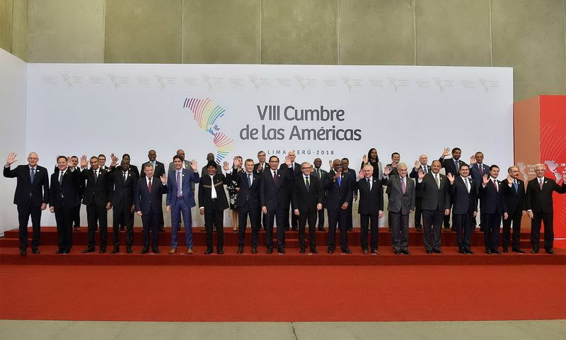 Participants of the Summit of the Americas, that was held in the capital of Peru, Lima, April 13–14, 2018