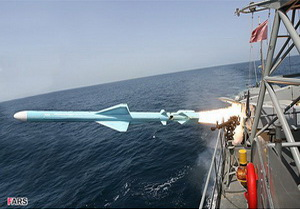 "Launching a missile ""Noor"" from the board of the destroyer ""Sabalan"""