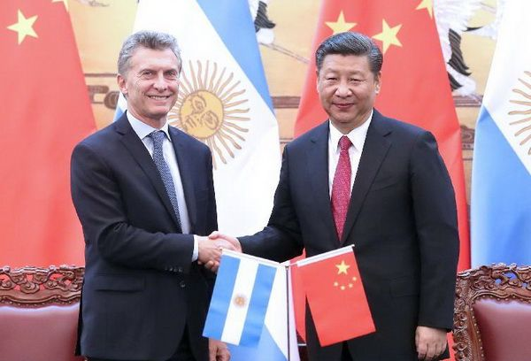 Chinese President Xi Jinping with the President of Argentina Mauricio Macri