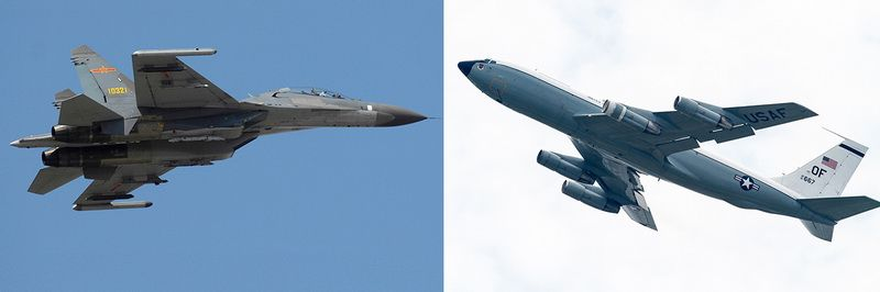 "Chinese SU-30 fighter jet and US Air Force WC-135 ""Constant Phoenix"""