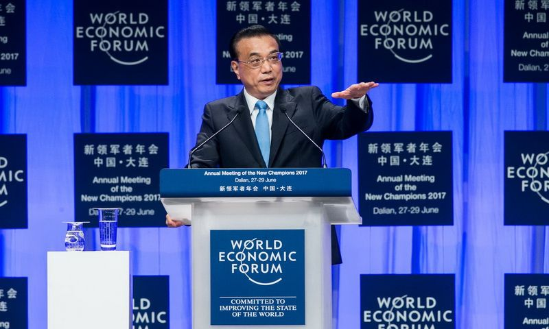 "Chinese Premier Li Keqiang at the opening ceremony of the World Economic Forum ""Summer Davos"""