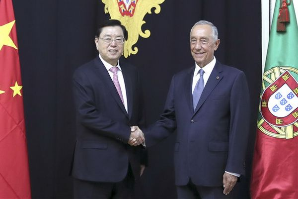 Chairman of the Standing Committee of the National People's Congress of the PRC Zhang Dejiang with Portuguese President Marcelo Rebelo de Sousa, July 12, 2017