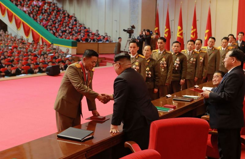 "December 13, 2017, the DPRK leader Kim Jong-un awarded scientists, military and officials for the creation of the ""Hwasong-15"" missile"