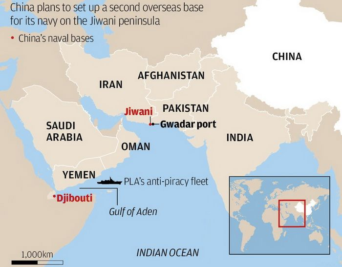 China plans to build second offshore base of the PLA Navy near a Pakistani port of Gwadar
