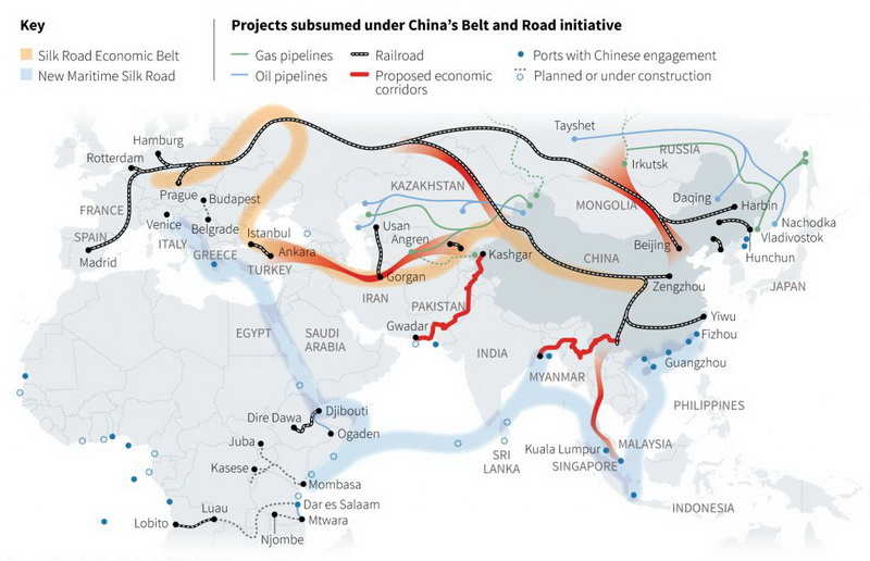 "In 2017, China's trade with countries along ""The Belt and Road"" reached 1.15 trillion US dollars"