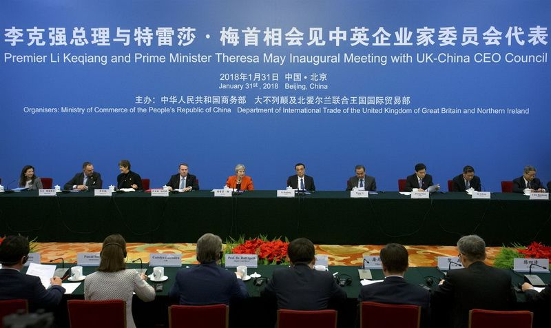 Chinese Premier Li Keqiang and British Prime Minister Theresa May on Inaugural meeting of the UK-China CEO Council in Beijing on January 31, 2018