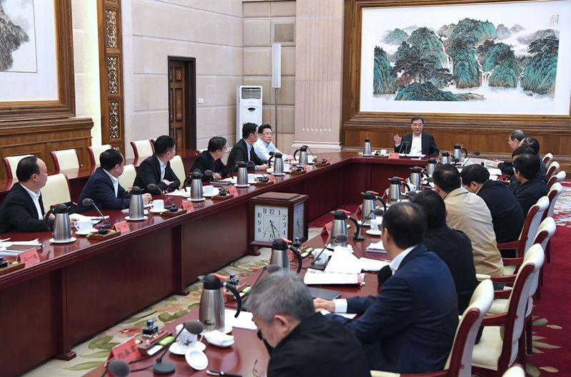 Vice Premier of the State Council of the People's Republic of China Wang Yang at the meeting with businessmen, Beijing, February 9, 2018