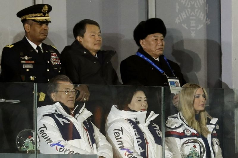 South Korean President Moon Jae-in and Deputy Chairman of the Central Committee of the Labor Party of North Korea Kim Jong Chol at the closing ceremony of the 23rd Winter Olympics