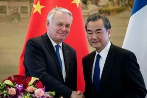 A meeting of the Foreign Ministers of China Wang Yi and France Jean-Marc Ayrault, April 14