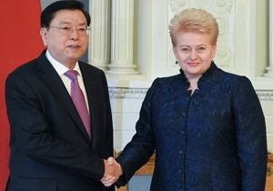 A meeting of the Chairman of the Standing Committee of the National People's Congress of China Zhang Dejiang with Lithuania President Dalia Grybauskaitė, April 14