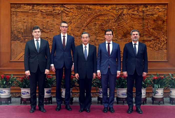 Chinese Foreign Minister Wang Yi meeting with Deputy Foreign Ministers of the Visegrad countries