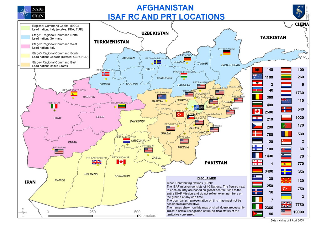 Location of regional commands peacekeeping forces and provincial reconstruction teams