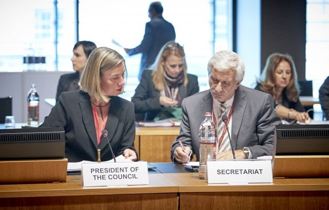 High Representative of the EU for Foreign Affairs and Security Policy Federica Mogherini at the EU Foreign Affairs Council