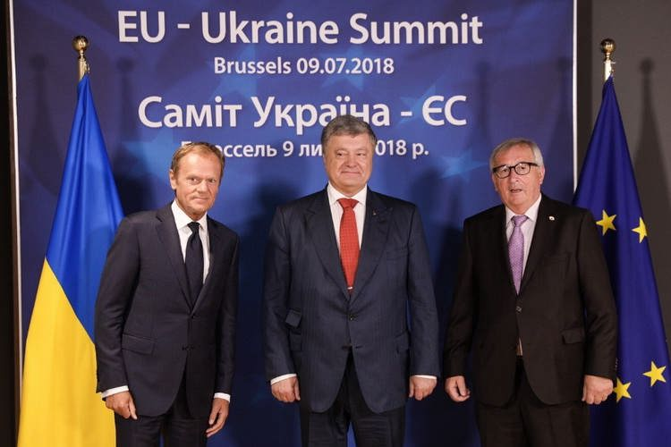 President of the European Council D. Tusk, President of Ukraine P. Poroshenko and President of the European Commission J.-C. Juncker met in Brussels for the 20th EU-Ukraine Summit, 9 July, 2018