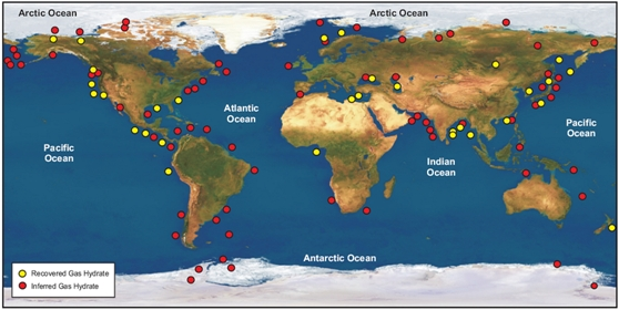Card established (yellow dots) and expected (red dots) deposits of methane hydrate in shelf waters of the world ocean