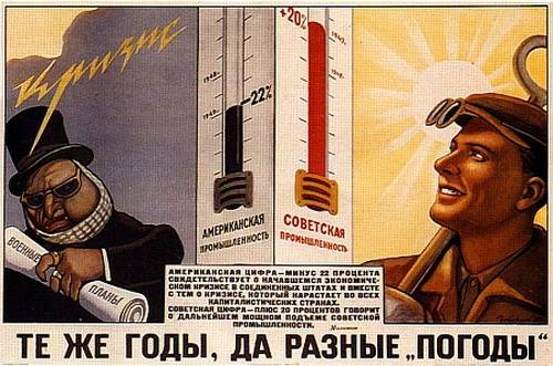"""Same years, but different weathers"". Soviet propaganda poster"