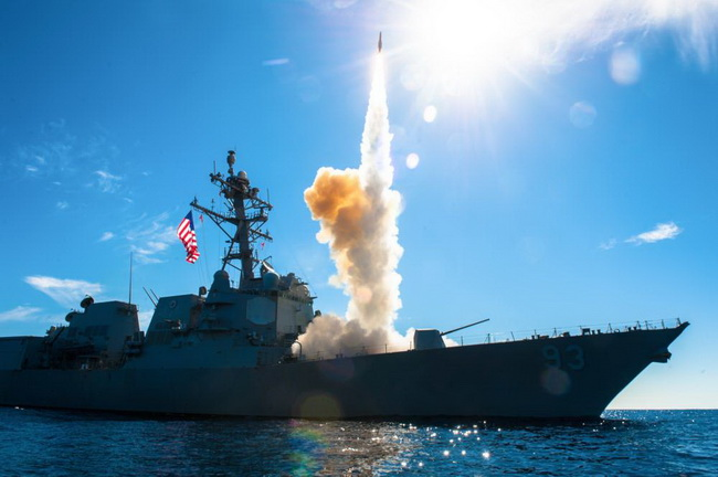 A destroyer of the US Navy with the Aegis system