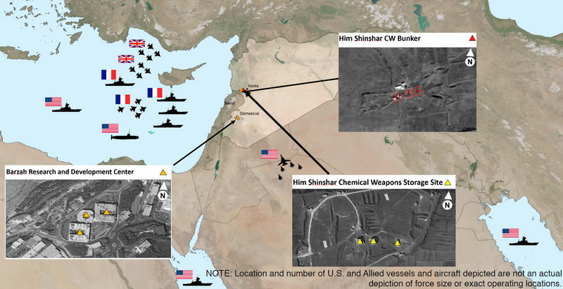 Damage assessment of the missile strikes on B. Assad's chemical weapons sites, revealed by the US Department of Defense