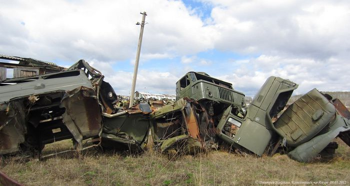 The abandoned military equipment storage and repair base near Komsomolsk-on-Amur