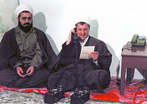 "Hashemi Rafsanjani and his Deputy, Hassan Rouhani during their leading operations «Karbala-5"" during the Iran-Iraq war, February 8, 1987"