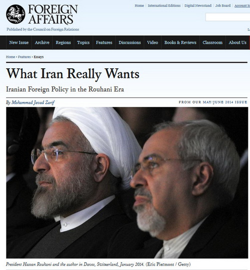 "Foreign Affairs in late April of this year published an article by the Minister of Foreign Affairs of the Islamic Republic of Iran Mohammad Javad Zarif ""Iran's true goals: the foreign policy of Hassan Rouhani's government"""