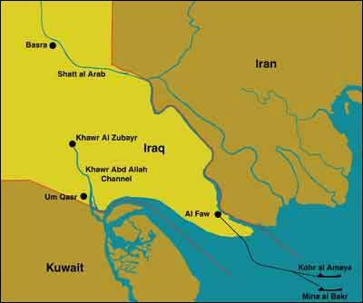 Location of the Iraqi oil terminals and maritime borders of the country