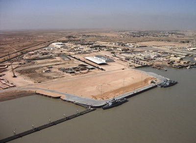 View of the modernized Umm Qasr Naval Base: new dam and a new floating pier can be seen
