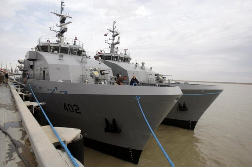 Final (in Umm Qasr Naval Base in January 2012) image of a patrol boat of Project AMP-137 for the Iraqi Navy