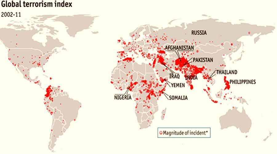 Places and frequency of terrorist acts in the world