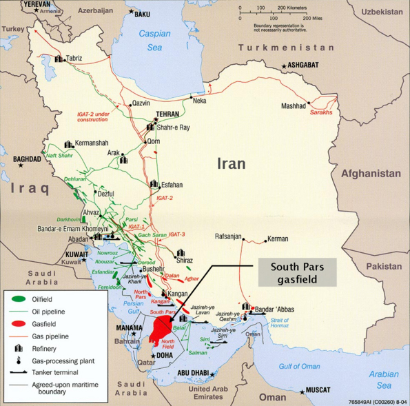 Construction of 5 thousand km gas pipeline costing $ 10 billion will allow to supply gas from the South Pars (located on the territory of Iran and Qatar) to Europe via Iran, Syria, Lebanon and the Mediterranean region
