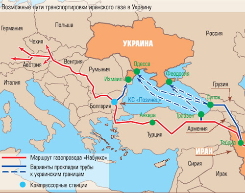 Possible ways to transport Iranian gas to Ukraine