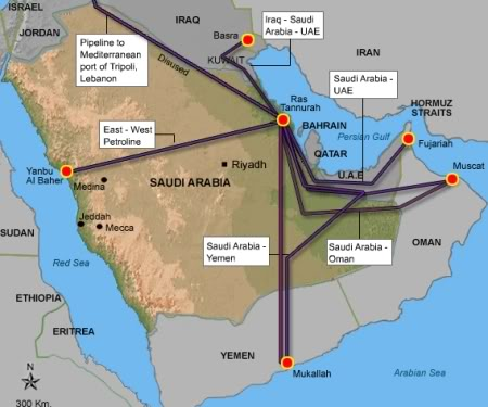 Map of oil and gas pipelines in the Arabian Peninsula