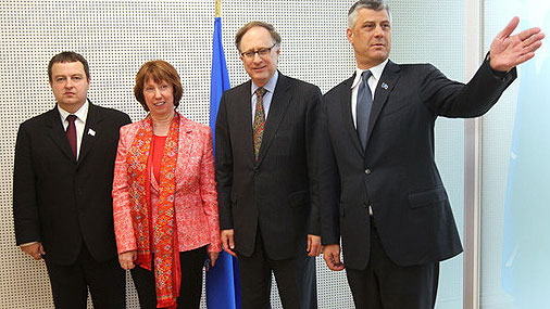 Prime Minister of Kosovo Hashim Thaci (right), Prime Minister of Serbia Ivica Dacic (left), the High Representative of the Union for Foreign Affairs and Security Policy  Catherine Ashton and NATO Deputy Secretary General Alexander Vershbow