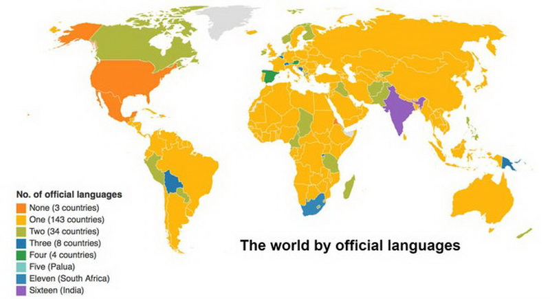 The world by number of official languages