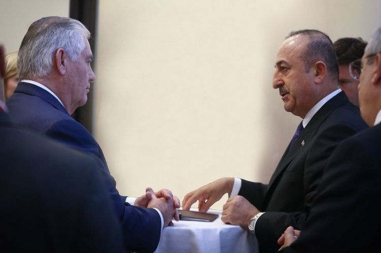 US Secretary of State Rex Tillerson with Turkish Foreign Minister Mevlut Cavusoglu