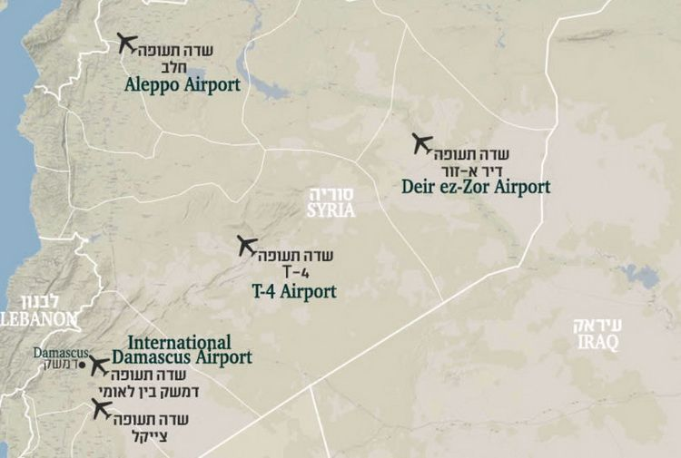 Map of Iranian-controlled air bases in Syria (provided by the Israeli Defense Forces)