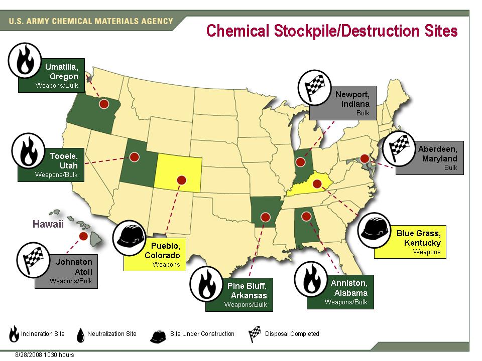 Locations storage of stocks of chemical weapons, the United States