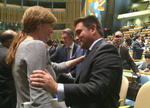 Pavlo Klimkin and US Permanent Representative to the United Nations Samantha Power