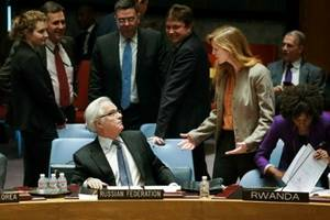 Permanent Representative of the Russian Federation to the United Nations Vitaly Churkin and Samantha Power