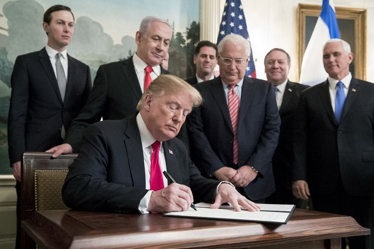On March 25, 2019, US President D. Trump signed the Proclamation on Recognizing the Golan Heights as Part of the State of Israel